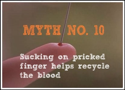 Sucking on pricked finger helps recycle the blood