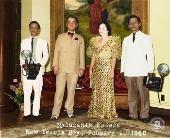 President Manuel L. Quezon and First Lady Aurora A. Quezon at the Palace Reception Hall