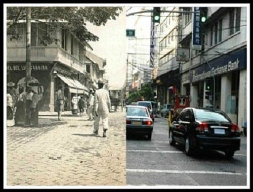 Calle Rosario, Binondo (now Quintin Paredes Street) then and now photo