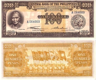 Melchora Aquino on 100 peso bill