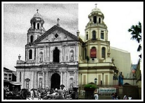 Quiapo Church (Minor Basilica of the Black Nazarene) then and now photo