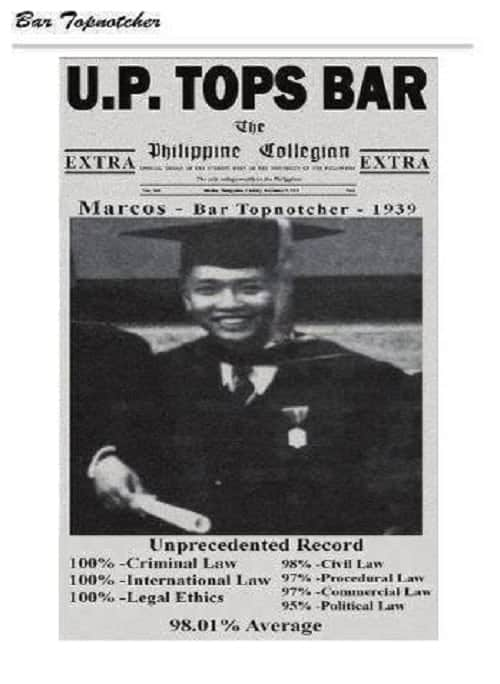 ferdinand marcos tops the 1939 bar examinations
