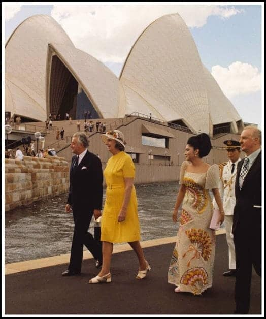 First Lady Imelda Marcos at the Sydney Opera House, October 1973.