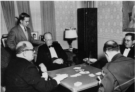 President Dwight Eisenhower playing bridge