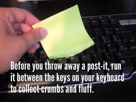 post it sticky notes as keyboard cleaner
