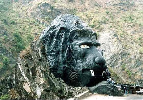The man-made Lion's Head in black coloration.