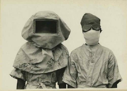 Uniforms worn while researching plague bacteria in the Philippines