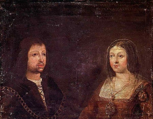 Wedding portrait of King Ferdinand II of Aragón and Queen Isabella of Castile.