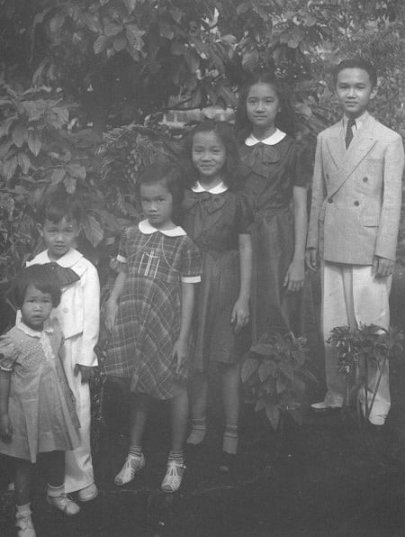 Young Cory Aquino with her siblings