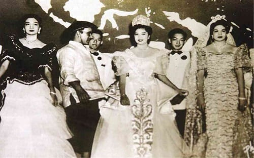Young Ninoy Aquino serving as an escort to Miss Philippines winner and townmate Maria Cristina Galang in 1953