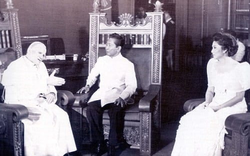 Pope John Paul II with President Ferdinand Marcos and First Lady Imelda Marcos in 1981