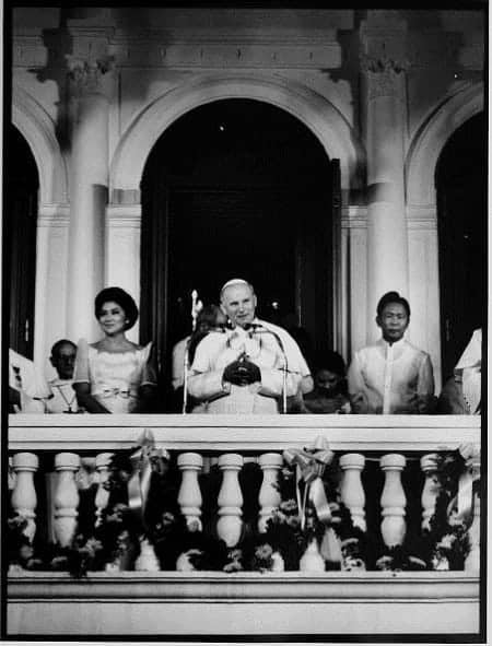Pope John Paul II with President Ferdinand Marcos