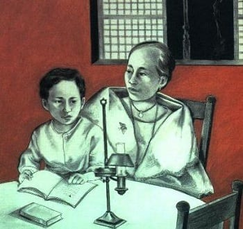 Rizal being told the story of the moth and the flame
