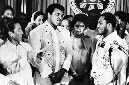 President Ferdinand Marcos with Muhammad Ali and Joe Frazier at Malacanang Palace