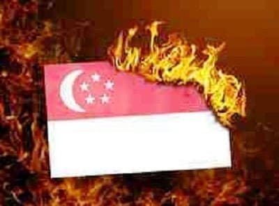Mayor Rodrigo Duterte led the burning of Singapore flag