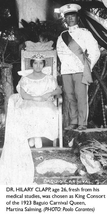 Dr. Hilary Clapp as King Consort of the 1923 Baguio Carnival Queen, Martina Salming