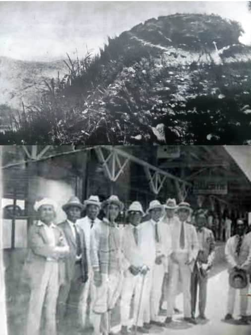 "TOP: The site where Gen. Gregorio del Pilar died in Tirad Pass (Source: ""General Gregorio H. Del Pilar: Idol of the Revolution"" by Isaac C. Cruz). BOTTOM: Committee to identify General Gregorio del Pilar's remains in Damortis, La Union, 1930. Photo Credit: Jose Enriquez Collection/Filipinas Heritage Library."