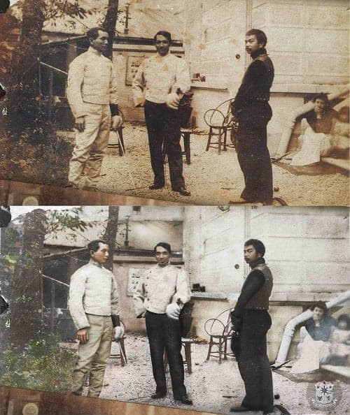 Jose Rizal on fencing garb with Juan Luna and Valentin Ventura