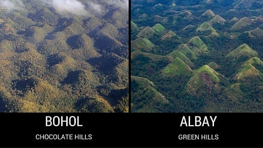 Chocolate Hills of Bohol and Green Hills of Albay