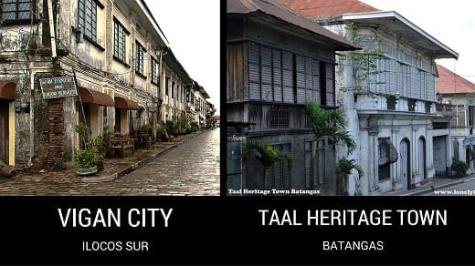 Vigan City in Ilocos Sur and Taal Heritage Town in Batangas