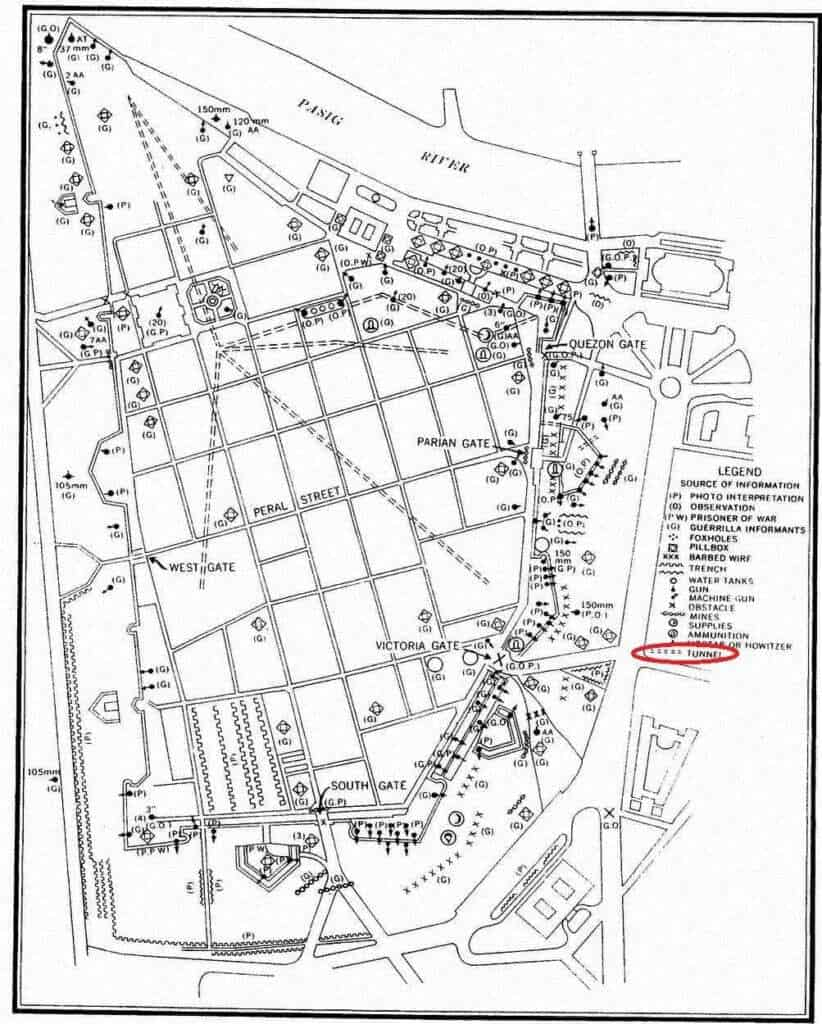 US Army Intelligence map showing tunnels in Intramuros