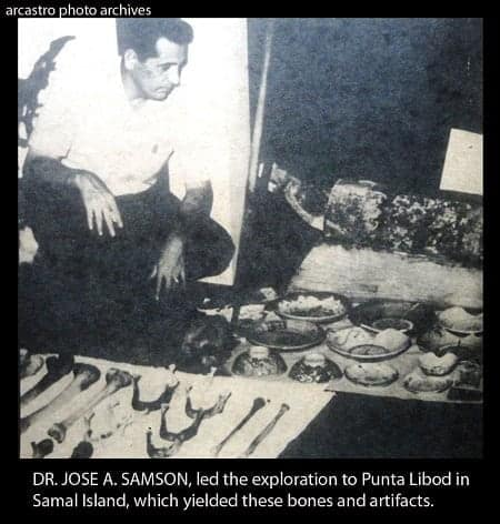 Dr. Jose A. Samson with bones and artifacts of the Samal giants