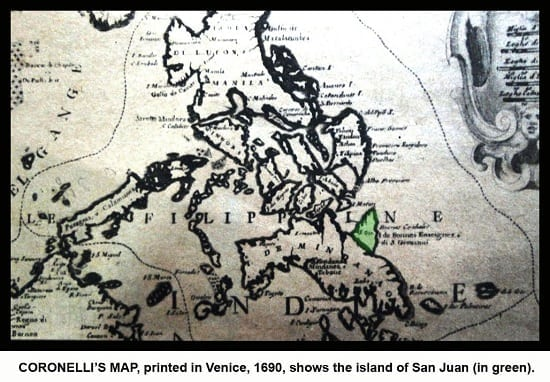 Map by Vincenzo Coronelli showing the island of San Juan
