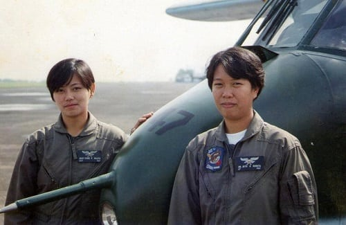 Mary Grace Baloyo (left) of the 15th Strike Wing