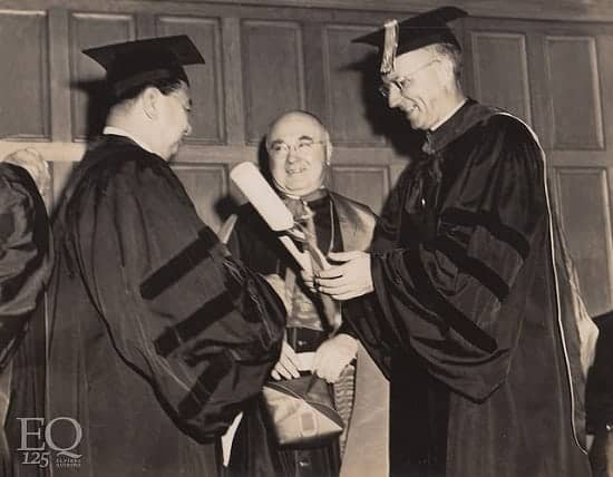 President Elpidio Quirino upon his conferment of honorary degree of Doctor of Laws at Fordham University, August 12, 1949
