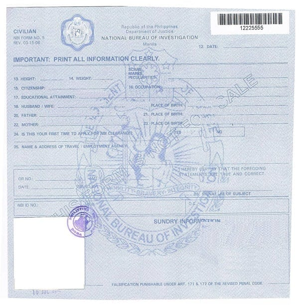 NBI Form Number 5 or fingerprint form